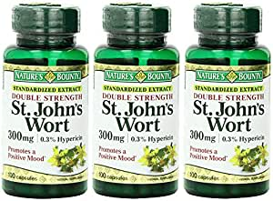 Nature's Bounty St. John's Wort, Double Strength, 300mg, 300 Capsules (3 X 100 Count Bottles)
