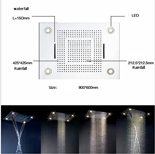 GOWE Luxury shower hotels 600mm800mm Led shower Big light shower rainfall shower head with 3 functions waterfall effect by Gowe (Image #3)