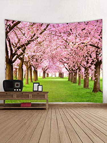 Wall Tapestry Spring Flower, Cherry Flower Blossom Tree Woodland Fresh Grasses Natural Plants Garden Scenery Wall Art Tapestry Backdrop Fabric Wall Hanging Blanket for Bedroom Living Room College Dorm
