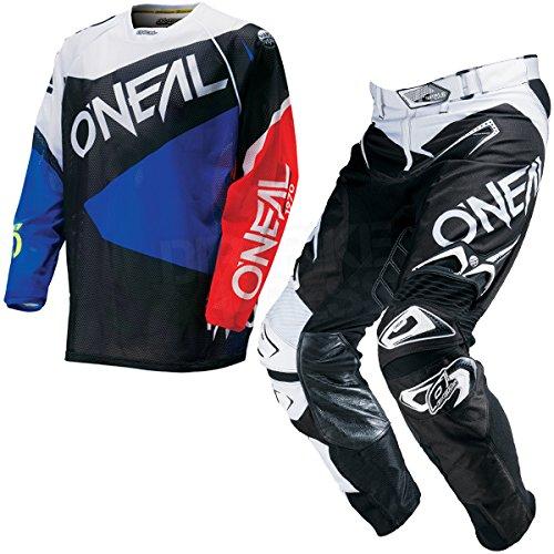 Oneal オニール HARDWEAR FLOW VENTED Jersey 2016モデル ジャージ 上下セット ブラック/ブルー XL-36(91cm) B016REXEI2