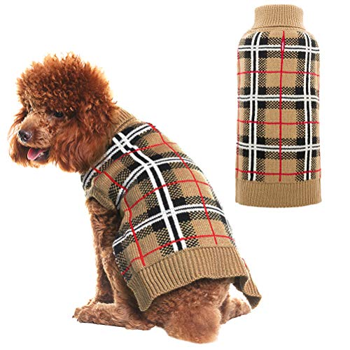 (PUPTECK Classic Plaid Style Dog Sweater - Puppy Festive Winter Clothes Cream Small)