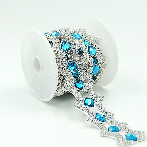 Seasofbeauty Blue Zircon Resin Clear Glass Rhinestone Sewing Costume Wedding Silver Trim 1 Yards