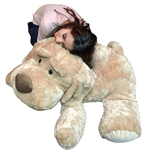 Giant Stuffed Dog 46 Inch Tan Color Big Plush Soft Stuffed Animal
