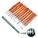 Wood Carving Kit,Wood Handle Carving Chisels Knife Tool Set for DIY Art Craft Clay Carpentry Beginners Amateur with Whetstones (12 Pieces)