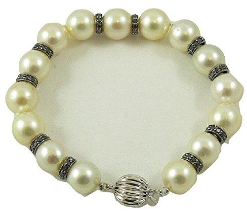 South Sea Pearl & Diamond Bracelet (South Sea Creamy White 10mm - 10.9mm Pearl Bracelet 18k White Gold Black Diamond 1.90ct)