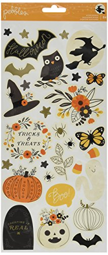 American Crafts Pebbles Midnight Haunting 64 Piece 6 x 12 Inch Cardstock Stickers