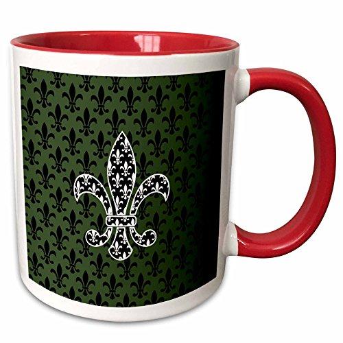 3dRose Russ Billington Patterns - Black and White Fleur de Lys over green and black Pattern - 15oz Two-Tone Red Mug (mug_220245_10)