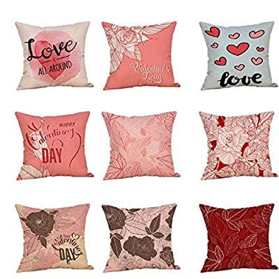 Throw Pillow Cover, DaySeventh Happy Valentine's Day Throw Pillow Case Sweet Love Square Cushion Cover 18x18 Inch 45x45 cm