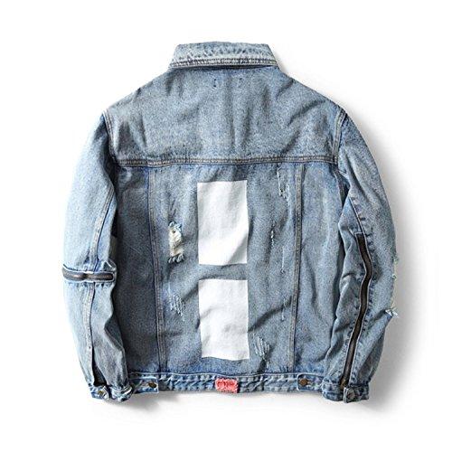 Diseñador Denim Marca Blue Men Zipper Jacket Ropa de Broken Hole Jeans de Hombre Meaningg Ropa Ripped qRwOvR4A