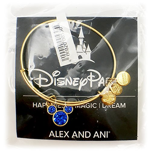 NA Disney Parks Alex and ANI Mickey Mouse Swarovski Crystals Birthstone Bangle Bracelet (Gold, September)