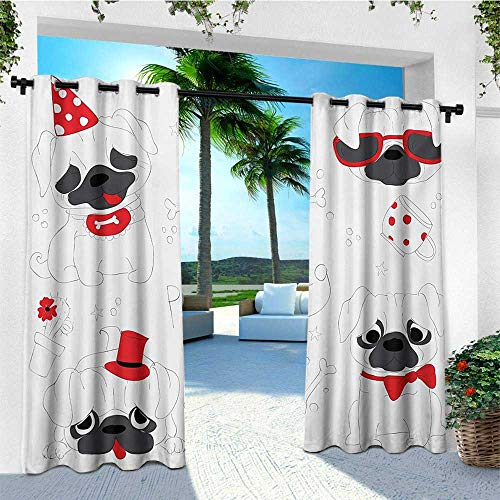 leinuoyi Pug, Outdoor Curtain of Lights, Dogs in Various States Sad Happy Cool Excited Dog Bone Dotted Mug Caricature Style, for Patio W84 x L96 Inch Black Red White