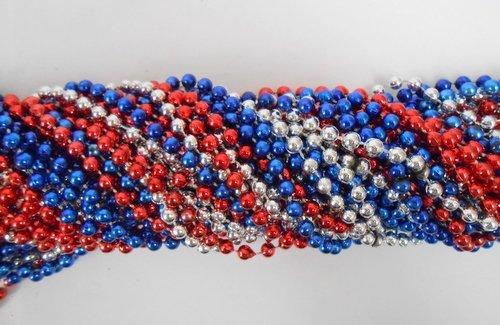 33 inch 7mm Round Metallic Red, Blue and Silver Mardi Gras Beads - 6 Dozen (72 necklaces) Mardi Gras Spot