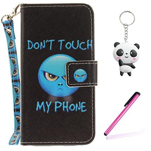 iPhone X Hülle Blauer Ausdruck PU Leder Wallet Handytasche Flip Etui Schutz Tasche mit Integrierten Card Kartensteckplätzen und Ständer Funktion Für Apple iPhone X / iPhone 10 (2017) 5.8 Zoll + Zwei G