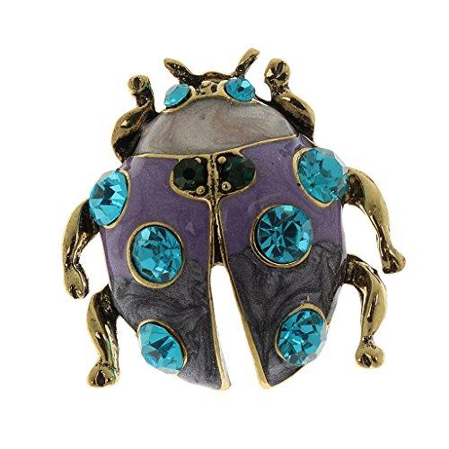- MonkeyJack Women Vintage Alloy Diamond Crystal Flower Animals Wedding Bridal Bouquet Brooch Pin - Blue Diamond Ladybug