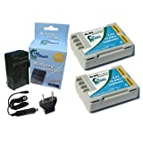 2x Pack - Olympus E-30 Battery + Charger with Car & EU Adapters - Replacement for Olympus BLM5, BLM-01 Digital Camera Battery and Charger (1620mAh, 7.4V, Lithium-Ion)
