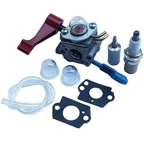 KIPA Carburetor With Fuel line Spark plug Gasket kit For Poulan FL1500 FL1500LE Weedeater Sears Craftsman Leaf Blower Replace ZAMA C1U-W12B C1U-W12A Replace Husqvarna OEM # 530071629 (Sears Leaf Blower Parts)