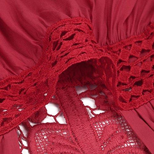 Couleur Manches Ete Rouge Tops sans Dentelle Gilet Shirt Casual Unie T Femme Tee Tank S Top Chemisier Blouse Taille Haut 5XL POachers Taille Chic Sexy Dbardeur Lache Grande pEXHq00w