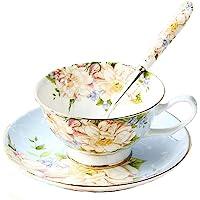 Juego de taza de té, cuchara y platillo