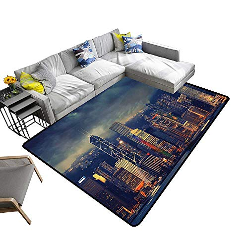 Fabric Anti-Skid Area Rug Hong Kong Cityscape in Stormy Weather Dark Cloudy Sky Waterfront Port Dramatic View Artwork Living Dinning Room and Bedroom Rugs 5'x6'(W150cmxL180cm) Navy -