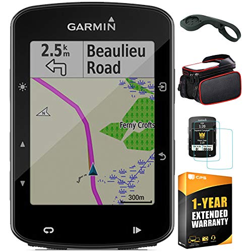 Garmin Edge 520 Plus Cycling GPS/GLONASS (010-02083-00) with Bike Mount Edge, Bike Frame Cell Phone Mount, Tempered Glass Screen Protector & 1 Year Extended Warranty