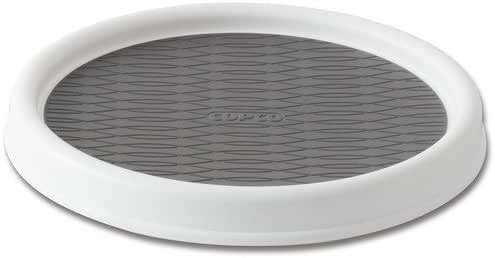 Copco 2555-0191 Non-Skid Pantry Cabinet Lazy Susan Turntable, 9-Inch, White/Gray
