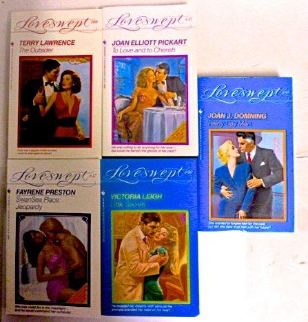 Set, 5 90's Loveswept. (#435) to Love and to Cherish, Joan Elliott Pickart. (#437) Swansea Place: Jeopardy, Fayrene Preston. (#399) the Outsider, Terry Lawtence. (#488) Rainy Day Man, Joan J. Domning. (#490) Little Secrets Victoria Leigh