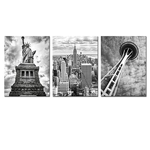 Biuteawal- 3 Piece Canvas Wall Art Black and White Empire State Building Seattle Space Needle Statue of Liberty Picture Canvas Print Modern Home Decor City Dramatic Cloudy Sky Landscape Poster