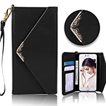 For iPhone 5 5S Wallet Case,Vandot Premium Envelope Flip Folio Handbag Shell PU Leather Magnetic Shockproof Protective Skin Cover with Credit Card Holders Wrist Strap for iPhone SE 5 5S-Black