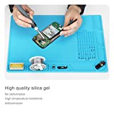 XOOL Heat Insulation Silicone Repair Mat with Scale Ruler and Screw Position for Soldering Iron, Phone and Computer Repair, Gift for Techie(13.7''×9.76'') - Blue