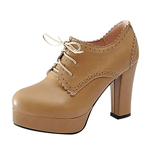 Apricot Women's High Mee Ankle Chic Heel up Block Shoes Lace Heel Boots xAnPnRgwq