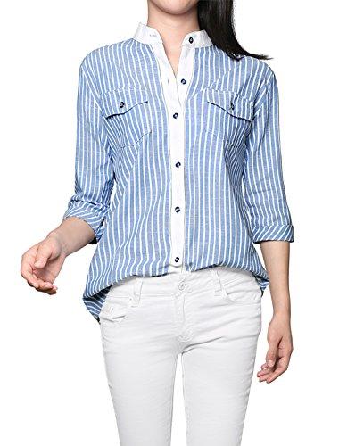 (Allegra K Women's Vertical Stripes Stand Collar Button Down Shirt Blue XS)