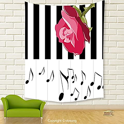 Vipsung House Decor Tapestry_Modern Hand Drawn Red Rose On Piano With Musical Notes Romantic Instrumental Art Scarlet Black White_Wall Hanging For Bedroom Living Room (Marilyn Manson Instrumental)