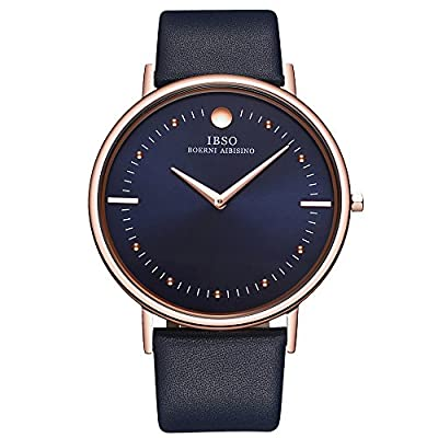 IBSO Men's Watches Super Slim Quartz Casual Wristwatch Ultra Thin Business Genuine Leather Analog Wrist Watch by HONGKONG BOERNI(SWISS) WATCH CO.,LTD