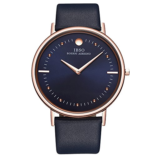 IBSO Men's Watches Super Slim Quartz Casual Wristwatch Ultra Thin Business Analog Wrist Watch
