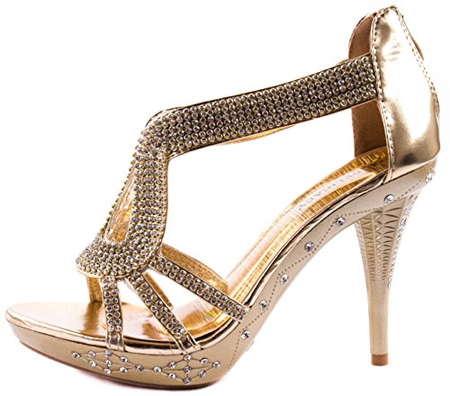 Heels Shoes High Rhinestones Delicacy Platform Gold on Women's Pumps with 06 and Delicacy Straps Clustered 51qfXnFfw