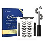 7 Pairs Magnetic Eyelashes With Eyeliner Kit Reusable 3D Waterproof Natural Look Magnetic Eyelashes With 2 Tubes Eyeliner No Glue Needed