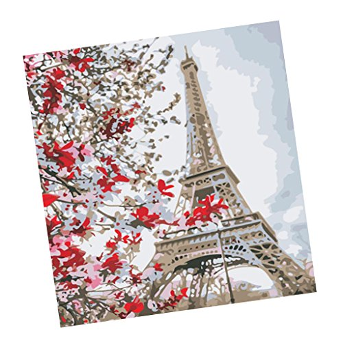 Baosity キャンバス 壁画装飾 DIY絵 油絵 エッフェル塔 数字キット 手塗りの商品画像