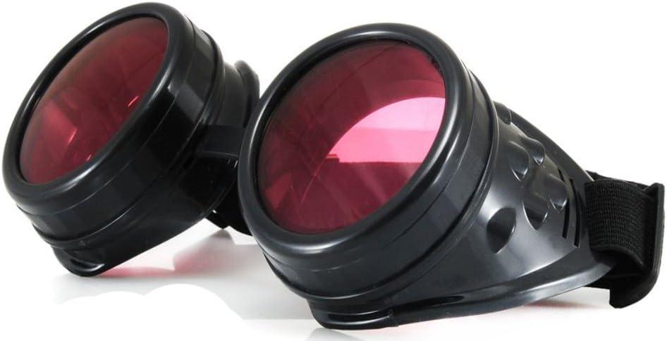 4sold stile gotico e vintage TM occhialini cibernetici con lenti extra limpide di colore rosa
