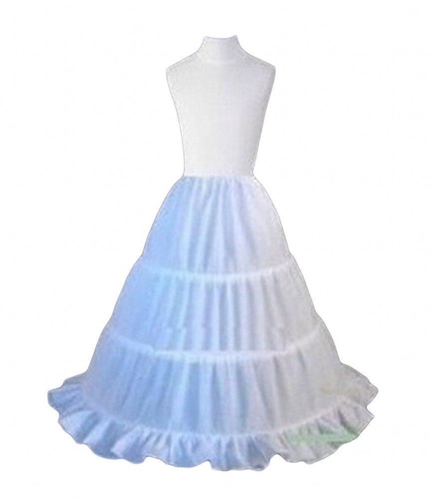 Sweetdresses Girls 3 Hoop Flower Girl Crinoline Petticoat Skirt with Lace Edge (One Size, White)
