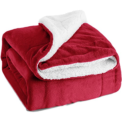 Bedsure Sherpa Fleece Blanket King Size Red Plush Blanket Fuzzy Soft Blanket Microfiber