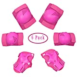Dostar Kids Protective Gear Set - Children Adjustable Safety Knee Pads Elbow Roller Wrist Guards for Outdoor Skating Cycling BMX Activities as Birthday, Christmas Gift Pack of 6 (Rose Red)