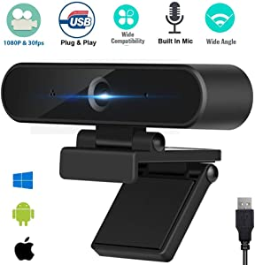 HD Webcam 1080p, Streaming PC Webcam USB Webcam with Microphones Web Camera for PC Laptop Desktop Web Cam for Highly Compatible for Windows, Mac, Skype, Zoom