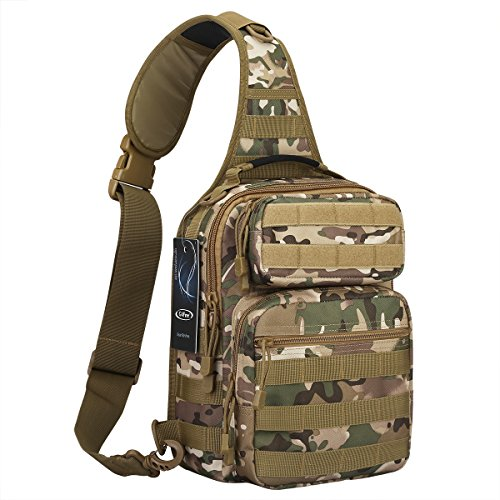 G4Free Outdoor Tactical Sling Backpack, Military Sport Daypack Shoulder One Strap Small Backpack for Camping, Hiking, Trekking, Rover Molle Chest Pack(CP (Camouflage Hiking Backpack)