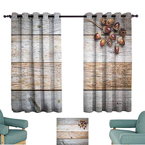HCCJLCKS Decor Curtains Rustic Acorns and Cones on Weathered and Grained Wooden Background Timber Autumn Theme Image Noise Reducing W55 xL63 Brown