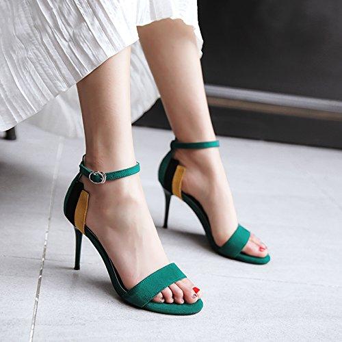 Yalanshop la terrasse d'été et à fente Sangle Escarpin Chaussures Spell Couleur avec mince Wild Girl Sandales à talons hauts, 36, Vert