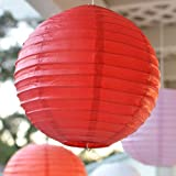 12-inch Asian Style Round Paper Lanterns - Red (3 Per Pack)