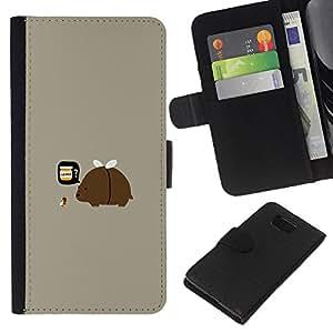 Samsung ALPHA G850 - Dibujo PU billetera de cuero Funda Case Caso de la piel de la bolsa protectora Para (Funny Rainbow Clown)