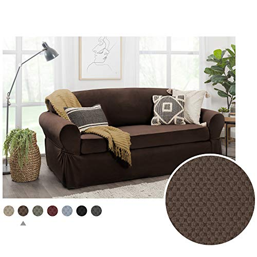 MAYTEX Pixel Ultra Soft Stretch 2 Piece Furniture Cover Sofa Slipcover, Chocolate