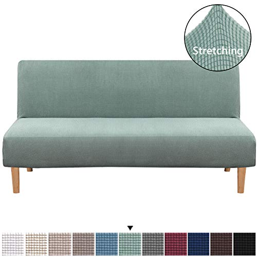 H.VERSAILTEX Armless Futon Cover Stretch Sofa Bed Slipcover Protector Elastic Feature Rich Textured Lycra High Spandex Small Checks Jacquard Fabric Sofa Shield Futon Cover, Machine Washable, Sage