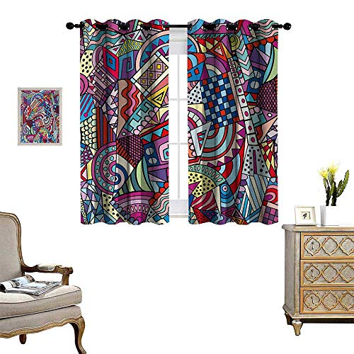 lic Window Curtain Drape Colorful Funky Art 90s Stained Glass Style Triangle Squares Modern Art Print Decorative Curtains for Living Room W72 x L72 Multicolor ()